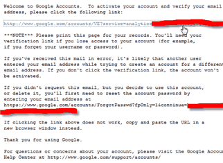 Screenshot: Email with your Google account activation details
