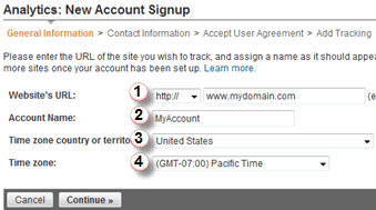 Screenshot: New account of Google Analytics #1