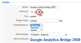 Bild: Plugin-Konfiguration Google Analytics Bridge 2009 #2