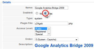 Screenshot: Plugin configuration Google Analytics Bridge 2009 #2