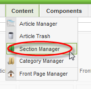 Screenshot: Section Manager