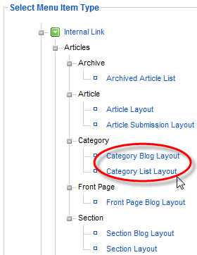 Screenshot: Create new menu item of Category Blog or Category List Layout type