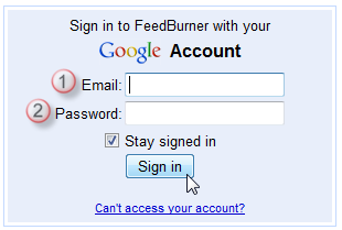 Screenshot: Login to FeedBurner with your Google account details