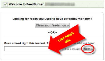 Screenshot: Submit your RSS Feed to FeedBurner