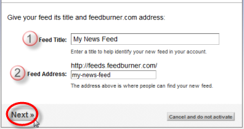 Screenshot: Enter details of your RSS Feed