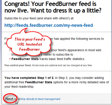 Screenshot: Take note of your Feed URL hosted at FeedBurner