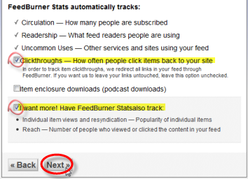 Screenshot: Configure FeedBurner to track Stats of your Feed