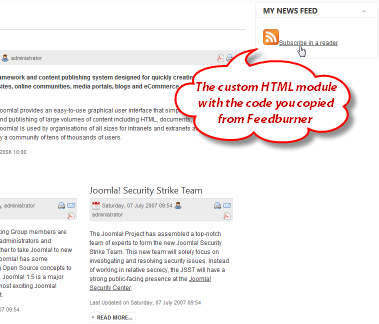 Screenshot: Paste the Chicklet HTML code into a Custom Joomla HTML module and publish it