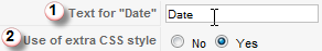 Screenshot: header text for Date column and extra CSS style